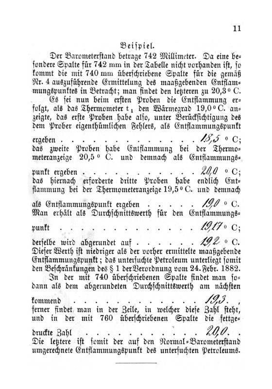 Abel scher Petroleumprober: S. 11. Anweisung, Beispiel