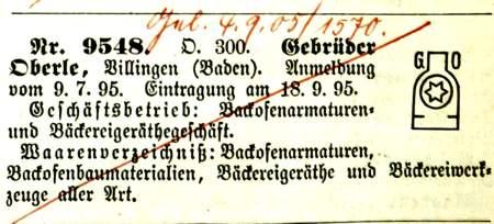 Oberles Petroleum-Backofenlampe: Warenzeichen Gebr Oberle 1895
