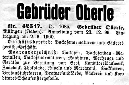 Oberles Petroleum-Backofenlampe: Warenzeichen Gebr Oberle 1900